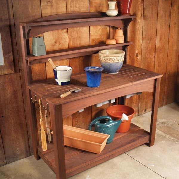Buy Full Service Potting Bench - Downloadable Plan at Woodcraft.com