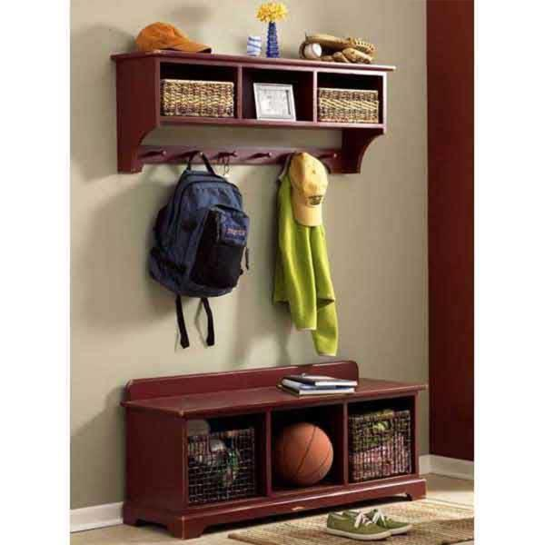 Buy Entry-Area Storage Bench and Wall Shelf - Downloadable Plan at