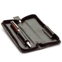 Leatherette Double Pen Case w/Zipper