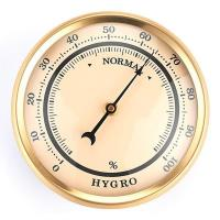 Hygrometer w/Ivory Dial and Brushed Gold Bezel