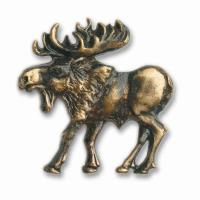 Buck Snort Lodge Walking Moose Pull Left Antique Brass Model 002AB