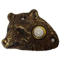 Buck Snort Lodge Bear Head Door Bell Antique Brass Model 925AB