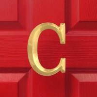 Michael Healy Designs Letter C Monogram Door Knocker Polished Brass
