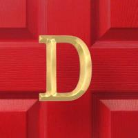 Michael Healy Designs Letter D Monogram Door Knocker Polished Brass