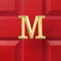 Michael Healy Designs Letter M Monogram Door Knocker Polished Brass