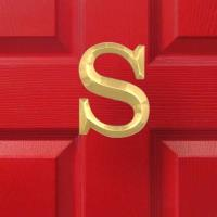 Michael Healy Designs Letter S Monogram Door Knocker Polished Brass