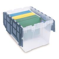 Akro-Mils 12 Gallon Attached Lid File Storage Box Set of 6