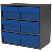 Akro-Mils Charcoal Gray Modular Cabinet with Blue Model 31182 AkroDraw