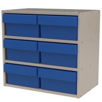 Akro-Mils Putty Colored Modular Cabinet with Blue Model 31182 AkroDraw
