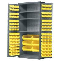 Akro-Mils Cabinet with Louvered Panels Shelves and AkroBins 36