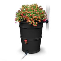 EarthMinded RainStationandtrade; 45 Gallon Rain Barrel Charcoal