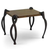 Keeler Evora Rustic Wood Angled End Table with Dark Antique Copper Fin