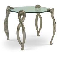Keeler Evora Contemporary Circular Glass End Table with Satin Nickel F