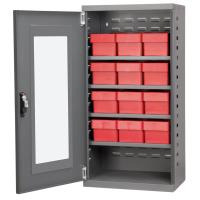 Akro Mils Charcoal Mini-Cabinet with 12 Red Model 31162 AkroDrawers