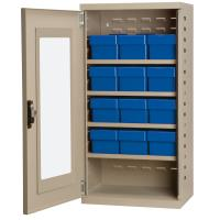 Akro Mils Putty Colored Mini-Cabinet with 12 Blue Model 31162 AkroDraw