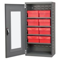 Akro Mils Charcoal Mini-Cabinet with 8 Red Model 31182 AkroDrawers