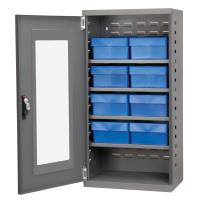 Akro Mils Charcoal Mini-Cabinet with 8 Blue Model 31182 AkroDrawers