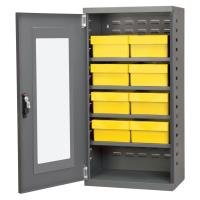 Akro Mils Charcoal Mini-Cabinet with 8 Yellow Model 31182 AkroDrawers