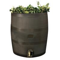 RTS Home Accents Round Rain Barrel with Planter 35 gallon Mud
