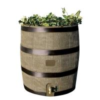 RTS Home Accents Round Rain Barrel with Planter 35 gallon Deco