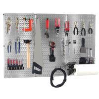 Wall Control 4 ft Metal Pegboard Basic Tool Organizer Kit with Galvani