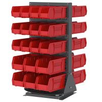 Akro-Mils Double-Sided Benchtop Spinner Rack with 36 Red AkroBins