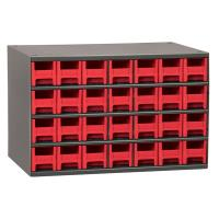 Akro-Mils 28 Drawer Steel Storage Cabinet with Red Drawers