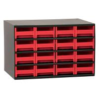 Akro-Mils 16 Drawer Steel Storage Cabinet with Red Drawers