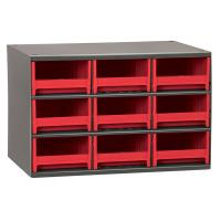 Akro-Mils 9 Drawer Steel Storage Cabinet with Red Drawers