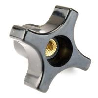 "Knob, Four Arm with Through Hole, 3/8""-16 Insert"